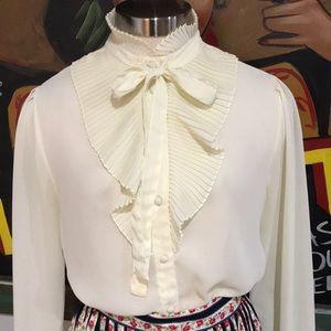 Vintage Ruffle Collar Bow Blouse